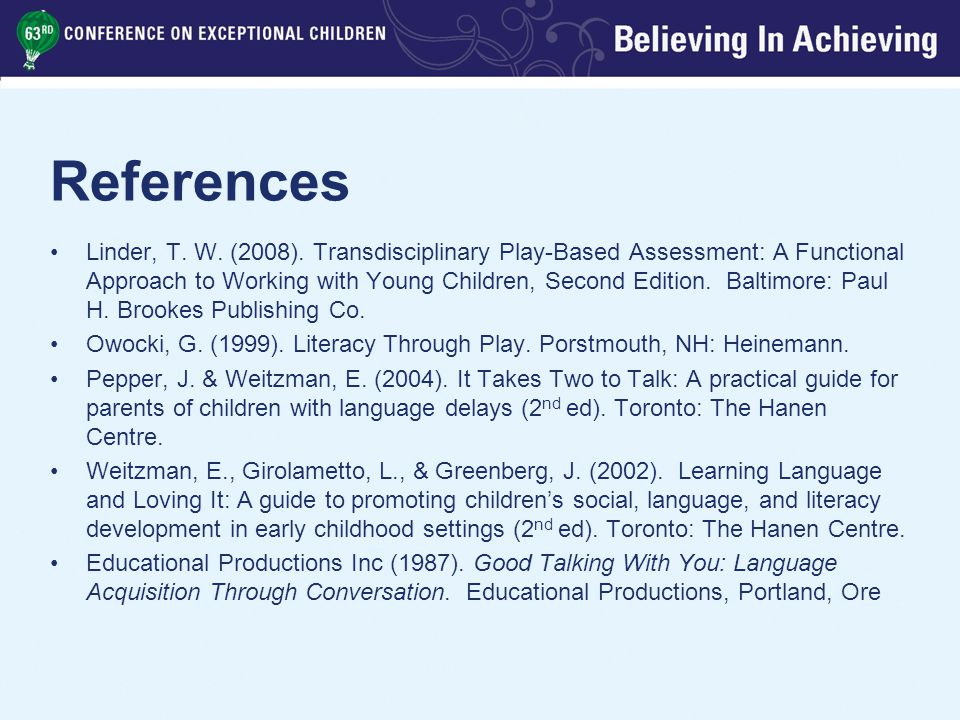 References Linder, T. W. (2008).