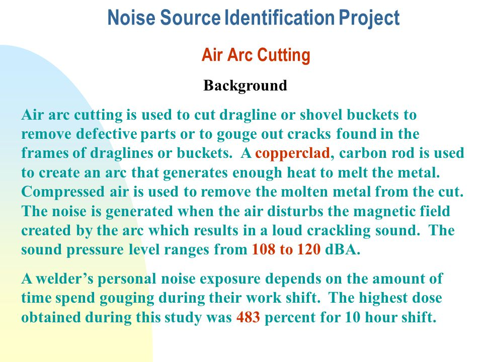Noise Source Identification Project Air Arc Cutting Background Air arc cutting is used to cut dragline or shovel buckets to remove defective parts or to gouge out cracks found in the frames of draglines or buckets.