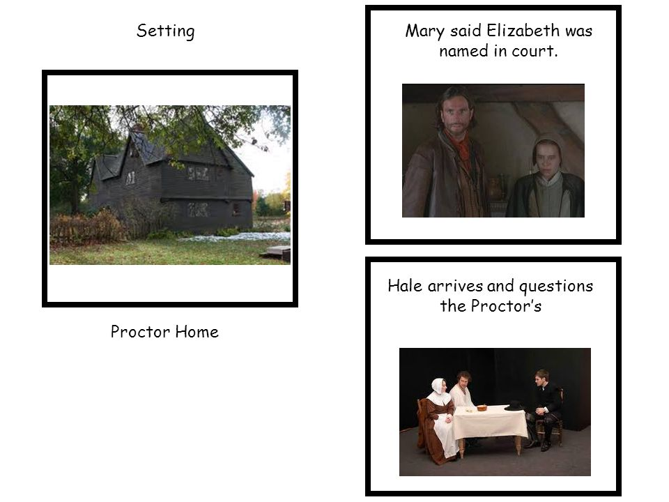 SettingMary said Elizabeth was named in court. Proctor Home Hale arrives and questions the Proctor's