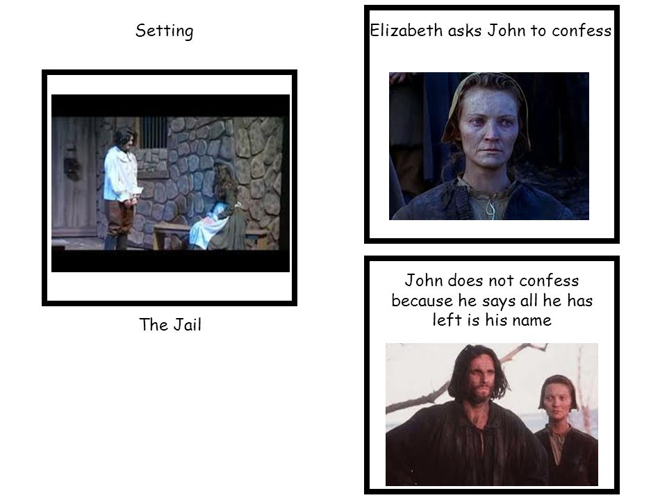 Setting The Jail Elizabeth asks John to confess John does not confess because he says all he has left is his name