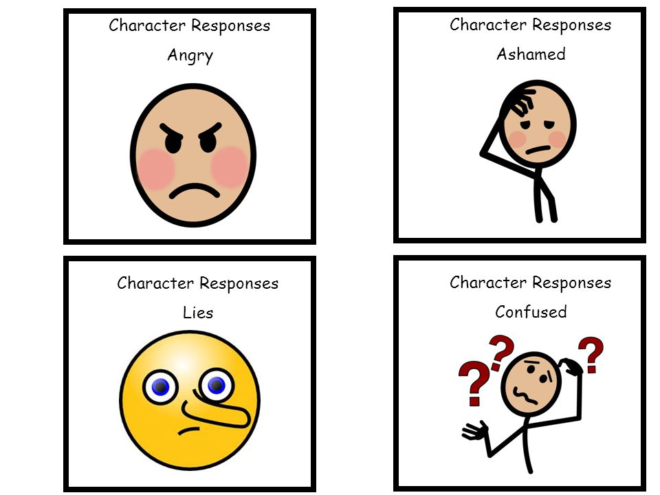 Character Responses Angry Character Responses Ashamed Character Responses Lies Character Responses Confused
