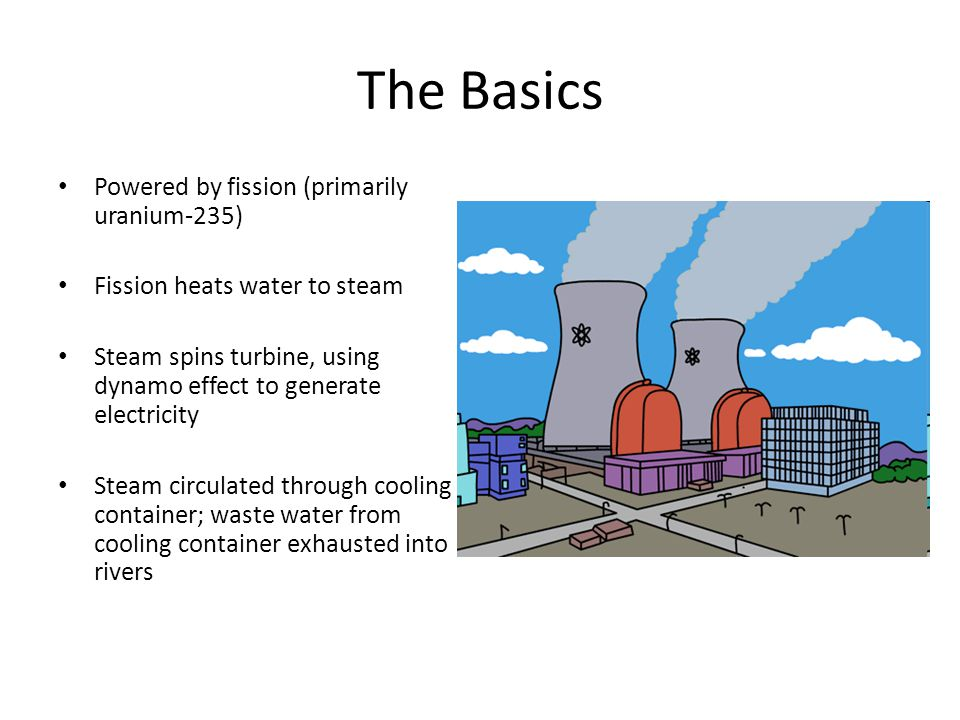 The Basics Powered by fission (primarily uranium-235)‏ Fission heats water to steam Steam spins turbine, using dynamo effect to generate electricity Steam circulated through cooling container; waste water from cooling container exhausted into rivers