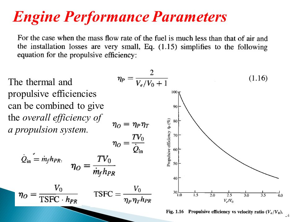 24 Engine Performance Parameters The thermal and propulsive efficiencies can be combined to give the overall efficiency of a propulsion system.