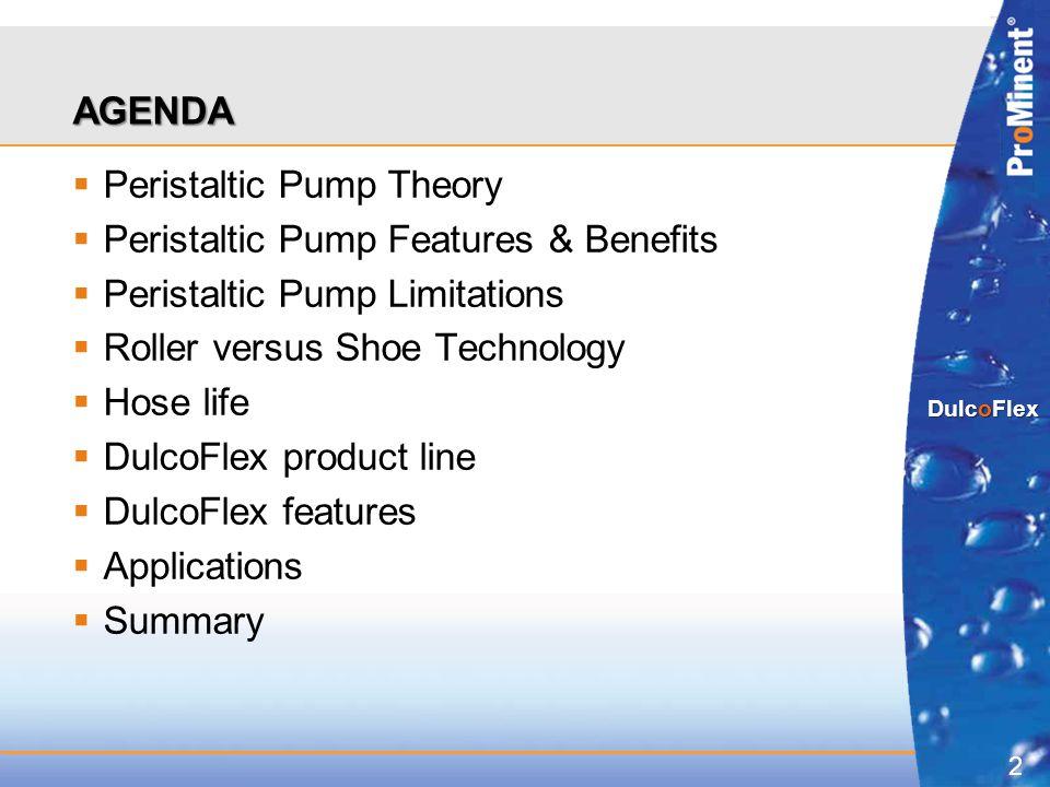2 DulcoFlex AGENDA  Peristaltic Pump Theory  Peristaltic Pump Features & Benefits  Peristaltic Pump Limitations  Roller versus Shoe Technology  H