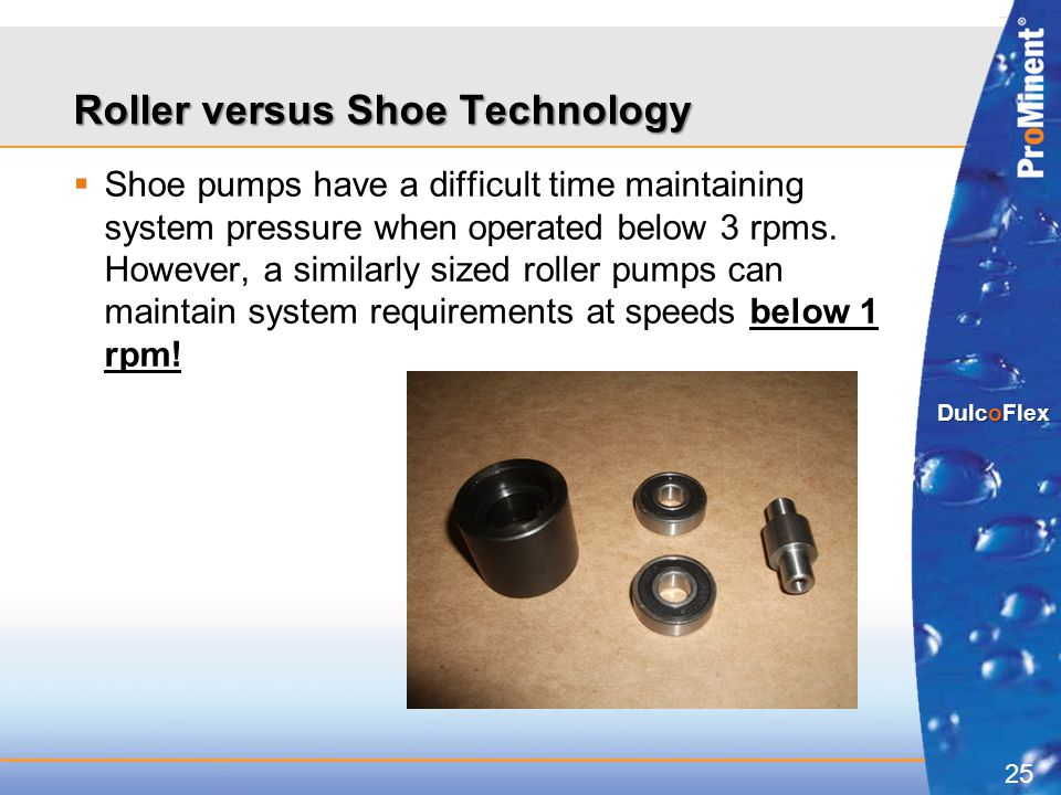 25 DulcoFlex  Shoe pumps have a difficult time maintaining system pressure when operated below 3 rpms. However, a similarly sized roller pumps can ma