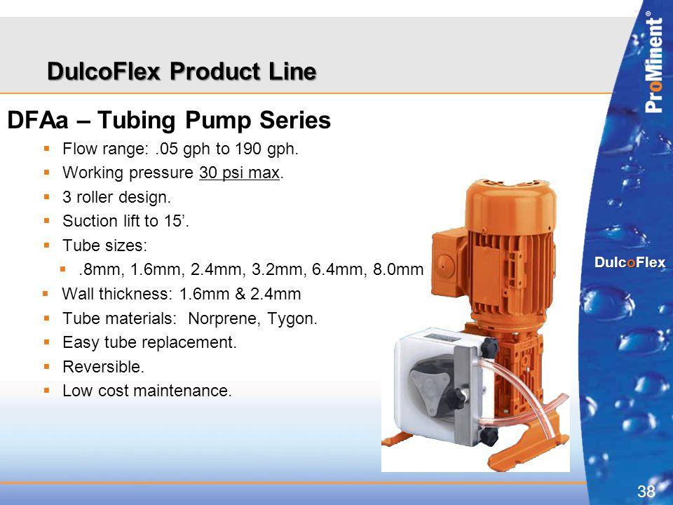 38 DulcoFlex DulcoFlex Product Line DFAa – Tubing Pump Series  Flow range:.05 gph to 190 gph.  Working pressure 30 psi max.  3 roller design.  Suc