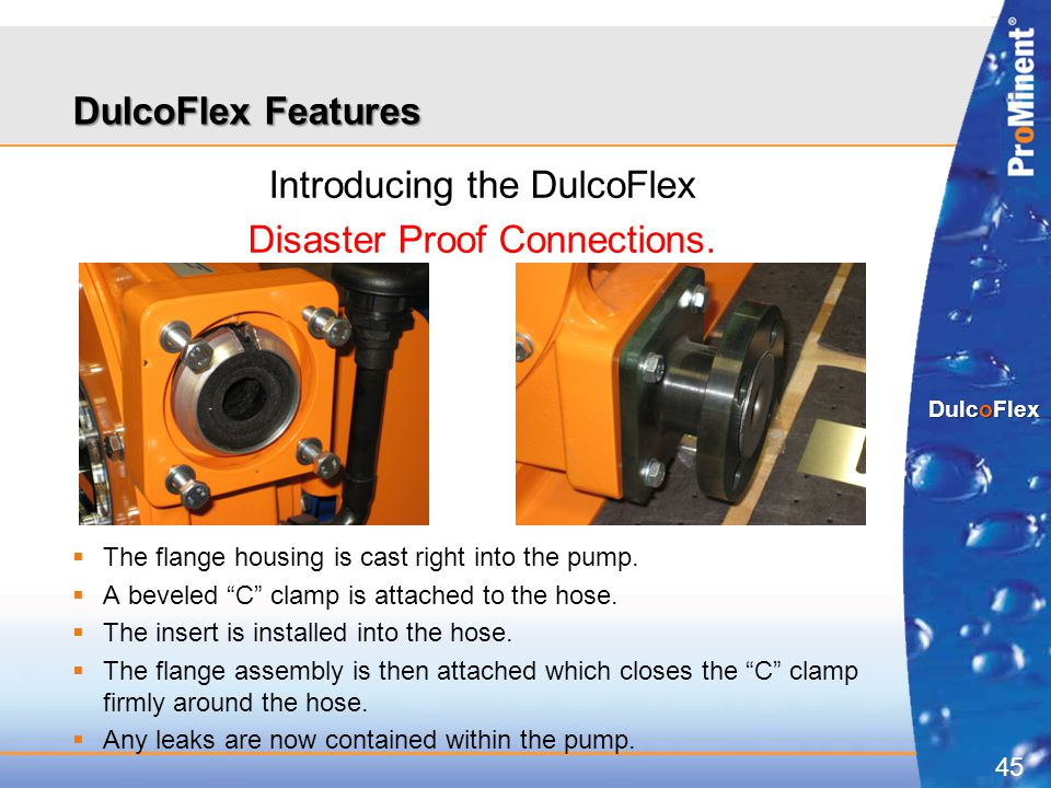 """45 DulcoFlex Introducing the DulcoFlex Disaster Proof Connections.  The flange housing is cast right into the pump.  A beveled """"C"""" clamp is attached"""