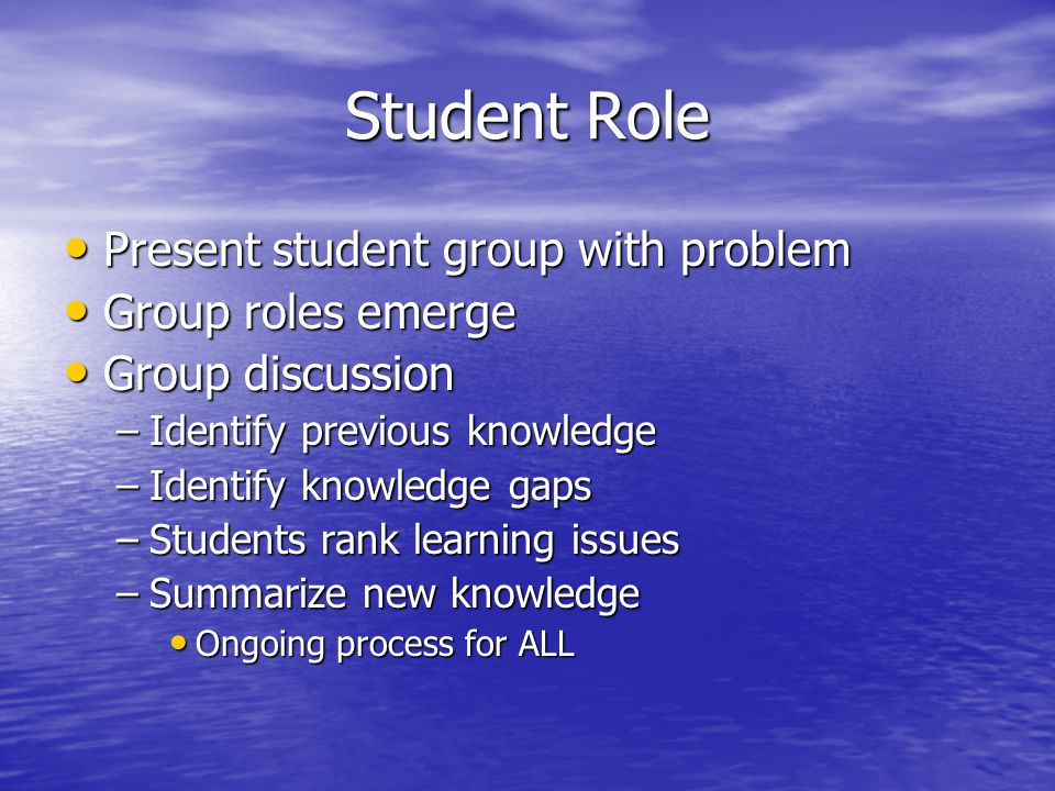 Faculty Role Guide, probe, question, direct Guide, probe, question, direct Support student inquiry Support student inquiry Provide direction to resources Provide direction to resources Can stop group discussions to focus on key learning outcome content Can stop group discussions to focus on key learning outcome content Monitor group functioning Monitor group functioning