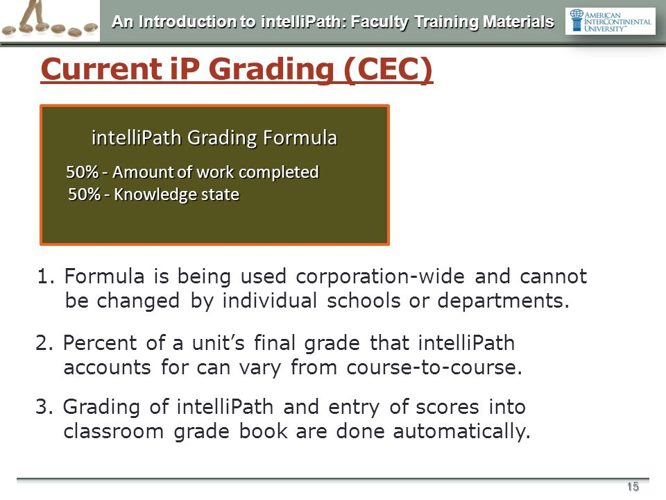 An Introduction to intelliPath: Faculty Training Materials 15 Current iP Grading (CEC) intelliPath Grading Formula 50% - Amount of work completed 50%