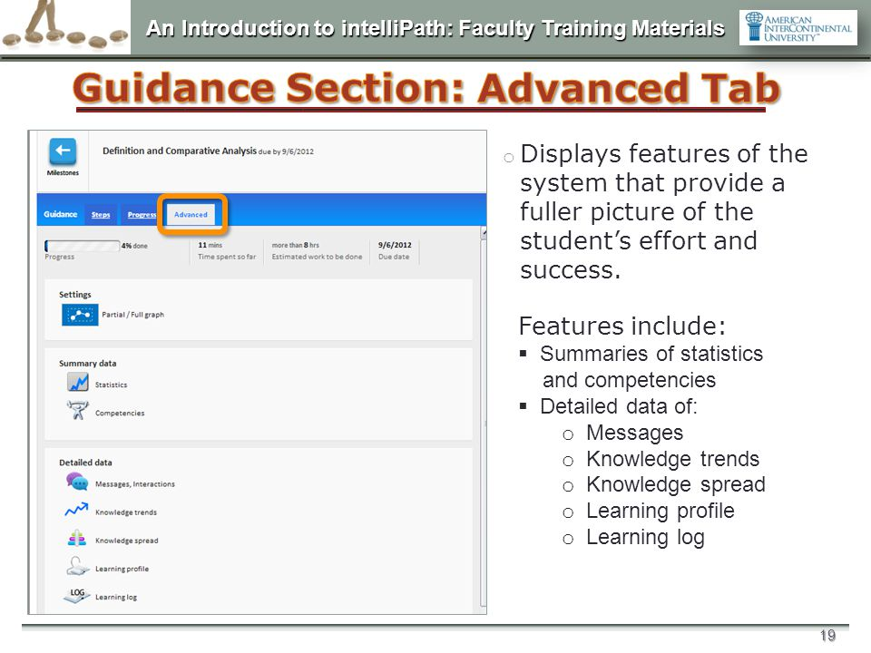 An Introduction to intelliPath: Faculty Training Materials 19 o Displays features of the system that provide a fuller picture of the student's effort