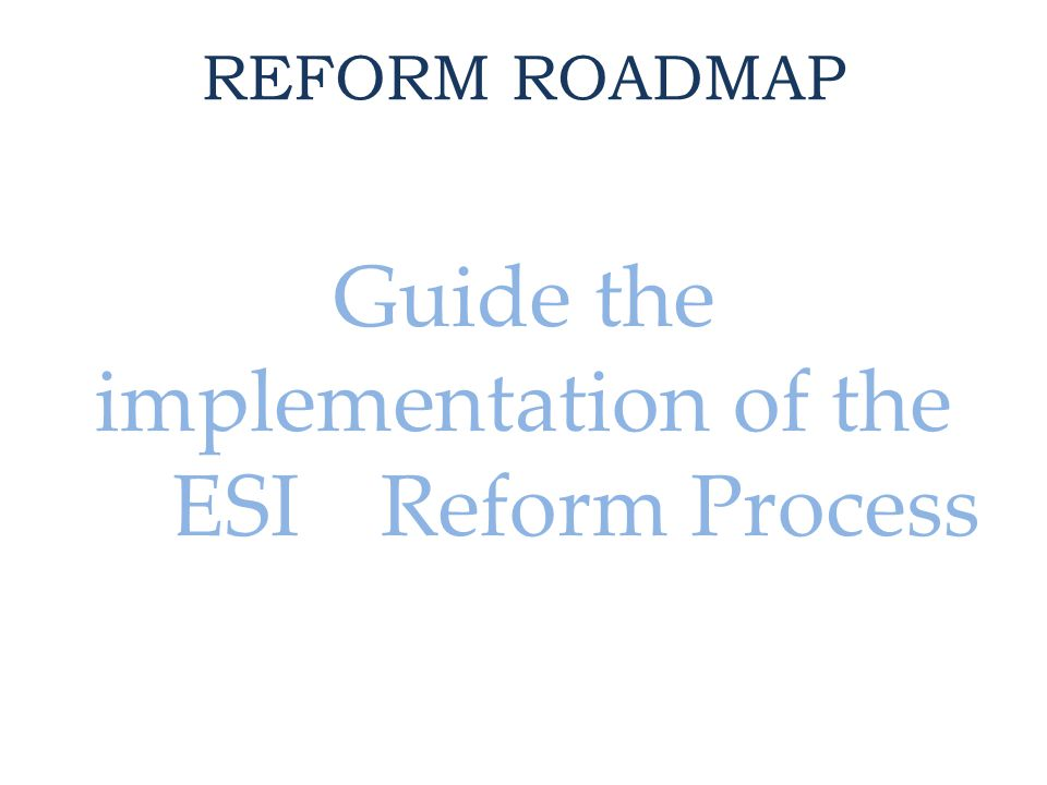 REFORM ROADMAP Guide the implementation of the ESI Reform Process