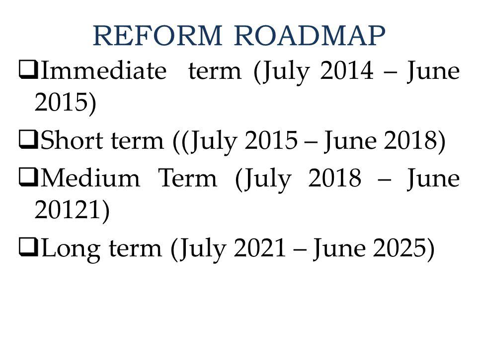 REFORM ROADMAP  Immediate term (July 2014 – June 2015)  Short term ((July 2015 – June 2018)  Medium Term (July 2018 – June 20121)  Long term (July 2021 – June 2025)