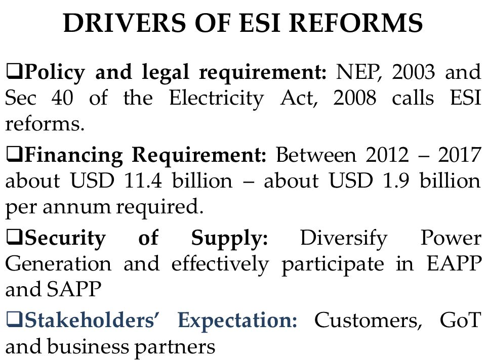 The Roadmap – The Roadmap – Long Term (Jul 2021 – Jun 2025 ) Major ActivitiesTimeframeLead Responsibility Unbundle Dx segment into several Zonal Distribution Companies Dec 2023MEM Establish ESI service standards Jul 2020EWURA Invest in human capital and trading system in preparation to retail market operations Jul 2020MEM Introduce Retail Competition Jul 2023MEM Prepare Gx Company and Dx for listing Jan 2025GenCo and DisCos Reduce losses (technical and non- technical) from 15% to 12% by 2025 Dec 2025Tx and Dx Increase electricity connectivity from 36% to 50% by year 2025 Dec 2025DisCos