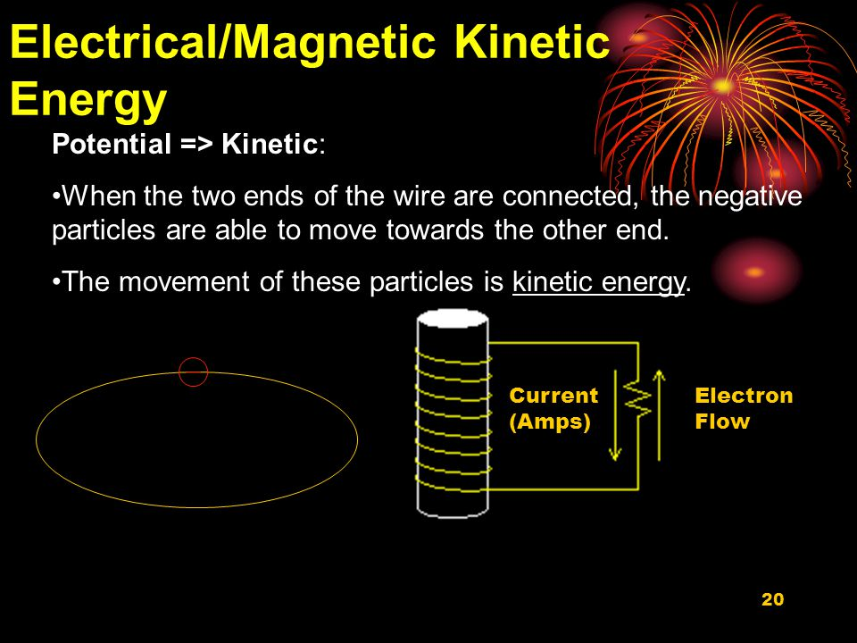 20 Electrical/Magnetic Kinetic Energy Potential => Kinetic: When the two ends of the wire are connected, the negative particles are able to move towards the other end.