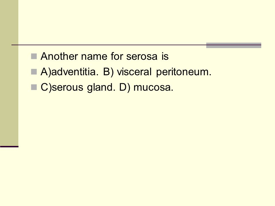 Another name for serosa is A)adventitia. B) visceral peritoneum. C)serous gland. D) mucosa.