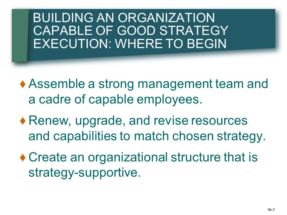 10–28 Further Perspectives on Structuring the Work Effort Pick a basic organizational design that matches structure to strategy Supplement design with appropriate coordinating mechanisms Institute collaborative networking and communication arrangements Matching Structure to Strategy