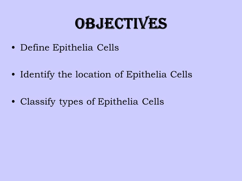 Objectives Define Epithelia Cells Identify the location of Epithelia Cells Classify types of Epithelia Cells