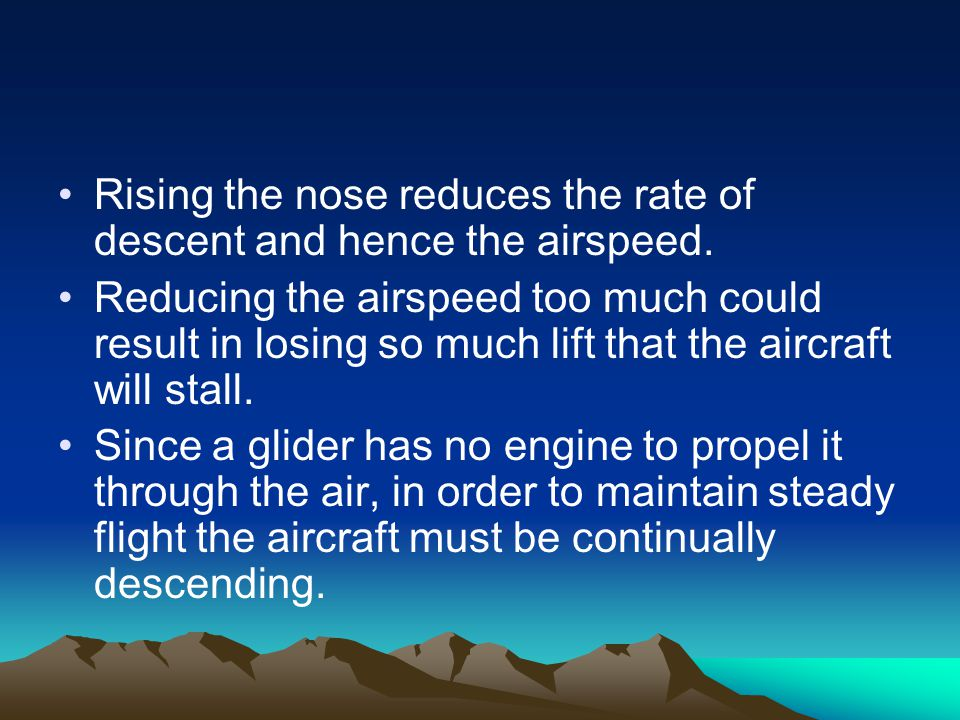 Rising the nose reduces the rate of descent and hence the airspeed. Reducing the airspeed too much could result in losing so much lift that the aircra