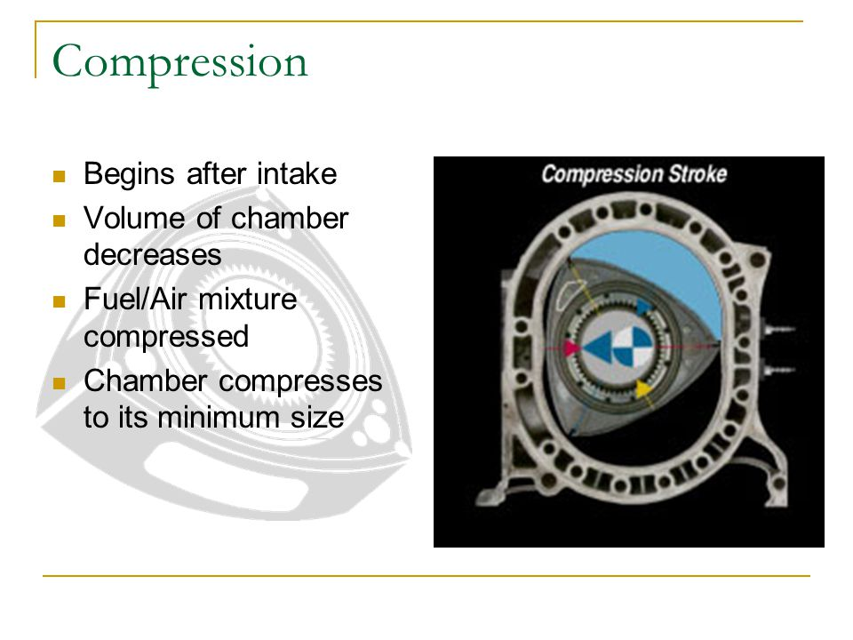 Compression Begins after intake Volume of chamber decreases Fuel/Air mixture compressed Chamber compresses to its minimum size