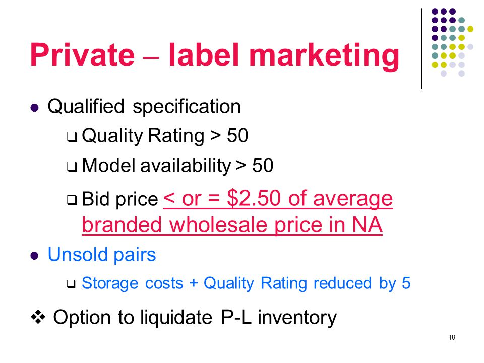 18 Private – label marketing Qualified specification  Quality Rating > 50  Model availability > 50  Bid price < or = $2.50 of average branded wholesale price in NA Unsold pairs  Storage costs + Quality Rating reduced by 5  Option to liquidate P-L inventory
