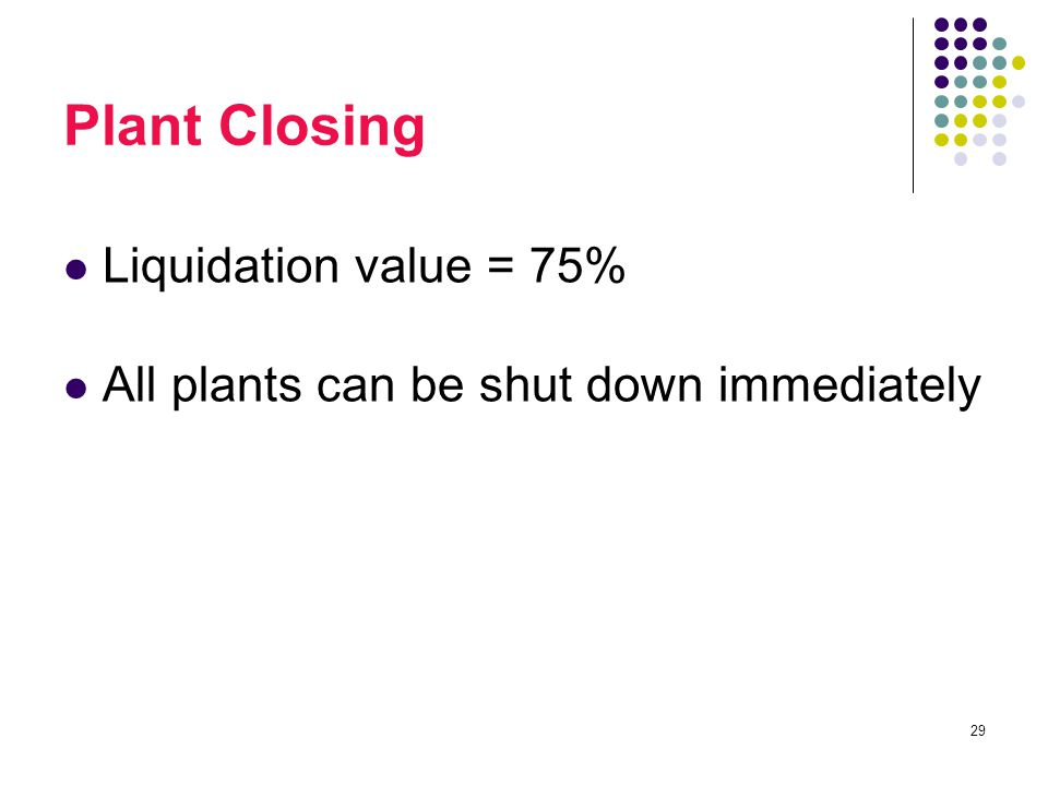 29 Plant Closing Liquidation value = 75% All plants can be shut down immediately