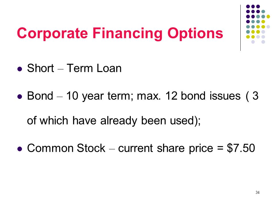 34 Corporate Financing Options Short – Term Loan Bond – 10 year term; max.