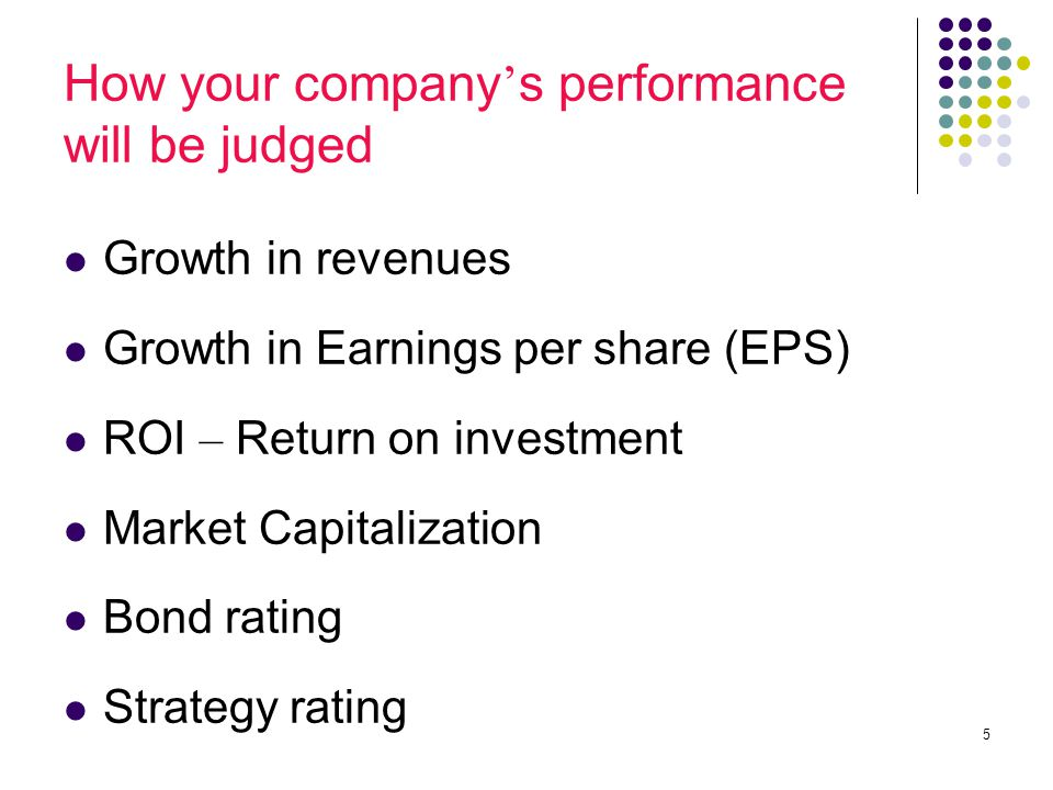 5 How your company ' s performance will be judged Growth in revenues Growth in Earnings per share (EPS) ROI – Return on investment Market Capitalization Bond rating Strategy rating