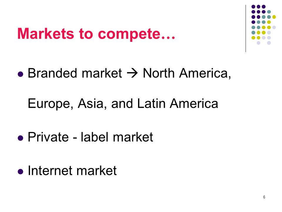 6 Markets to compete … Branded market  North America, Europe, Asia, and Latin America Private - label market Internet market