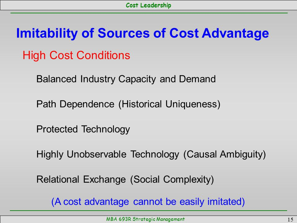 Cost Leadership MBA 693R Strategic Management 15 Imitability of Sources of Cost Advantage High Cost Conditions Balanced Industry Capacity and Demand P