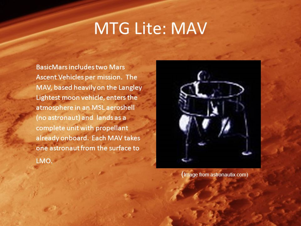 MTG Lite: MAV BasicMars includes two Mars Ascent Vehicles per mission.