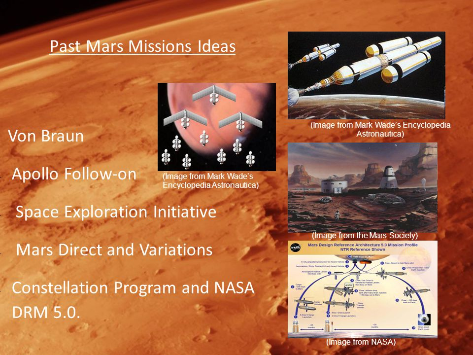 Past Mars Missions Ideas Von Braun – Apollo Follow-on – Space Exploration Initiative – Mars Direct and Variations – Constellation Program and NASA DRM 5.0.