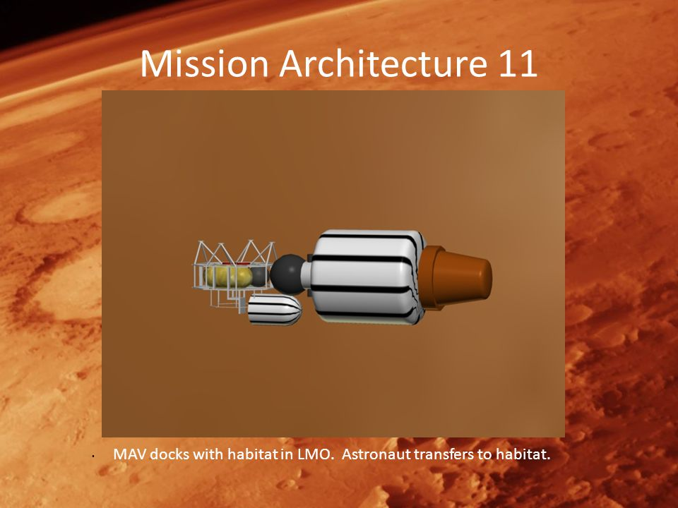 Mission Architecture 11 MAV docks with habitat in LMO. Astronaut transfers to habitat.