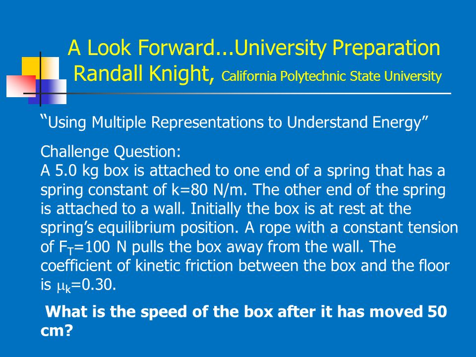 "A Look Forward...University Preparation Randall Knight, California Polytechnic State University "" Using Multiple Representations to Understand Energy"""