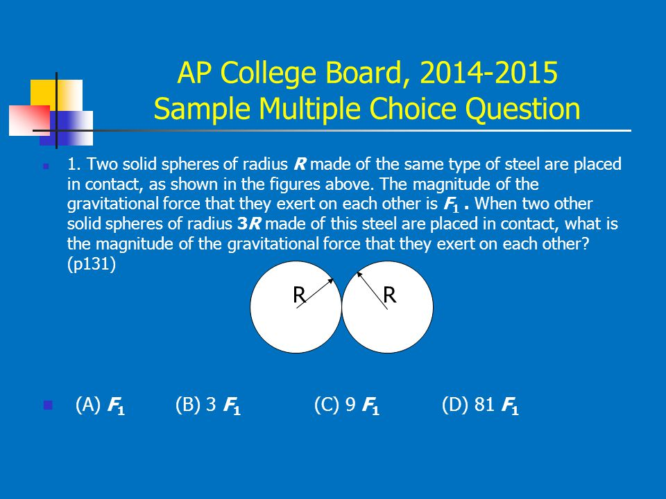 AP College Board, 2014-2015 Sample Multiple Choice Question 1. Two solid spheres of radius R made of the same type of steel are placed in contact, as