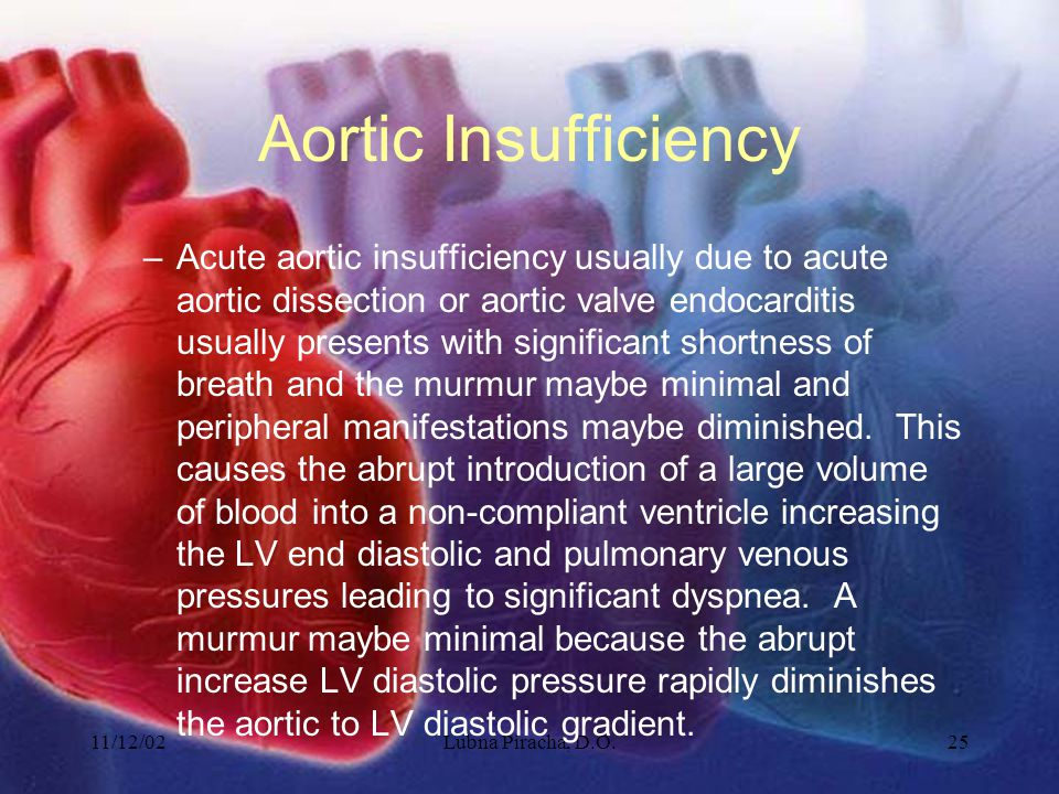 11/12/02Lubna Piracha, D.O.25 Aortic Insufficiency –Acute aortic insufficiency usually due to acute aortic dissection or aortic valve endocarditis usu