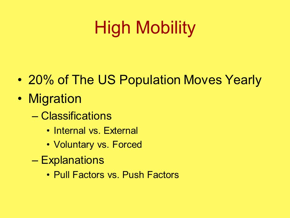 High Mobility 20% of The US Population Moves Yearly Migration –Classifications Internal vs.