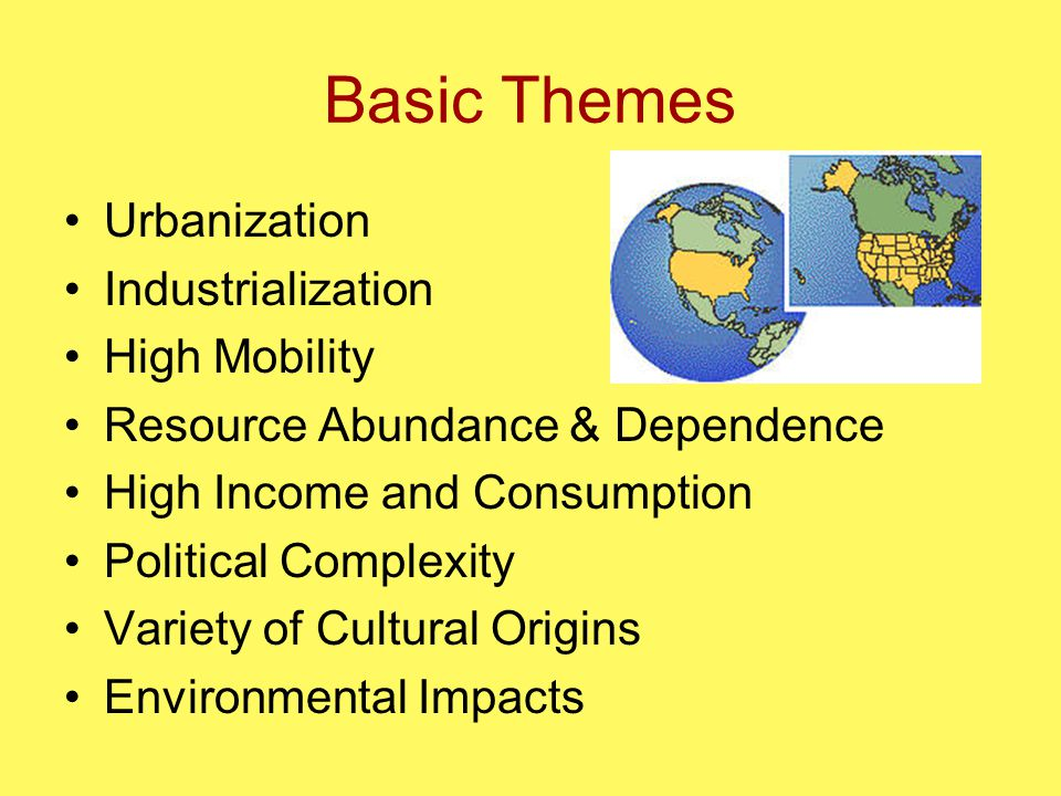 Basic Themes Urbanization Industrialization High Mobility Resource Abundance & Dependence High Income and Consumption Political Complexity Variety of Cultural Origins Environmental Impacts