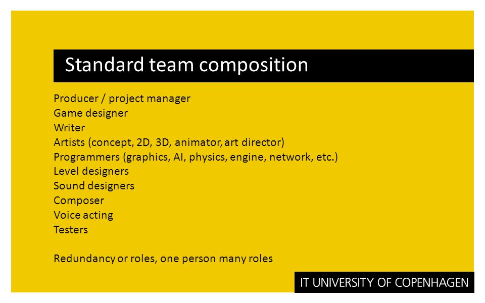 Other roles (freelancers) Cut-Scene artist (in-game cinematographer) Writer Voice acting Motion capturing Sound design Music composition Testers QA lead User Research