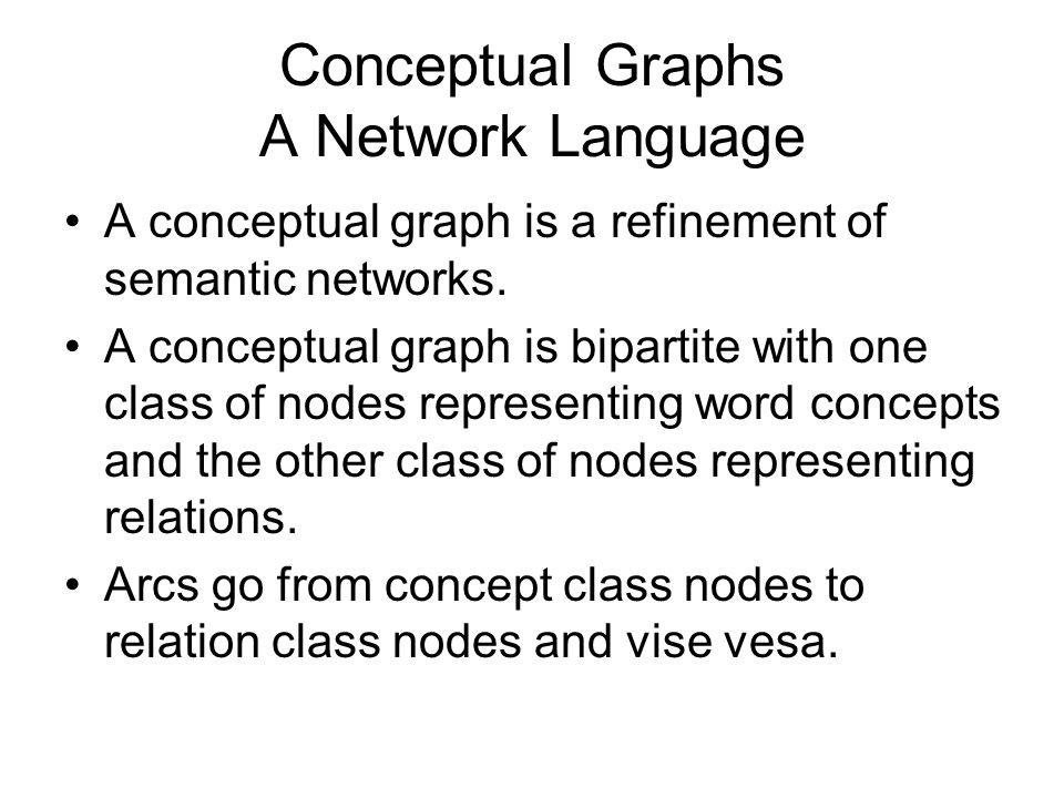Conceptual Graphs A Network Language A conceptual graph is a refinement of semantic networks. A conceptual graph is bipartite with one class of nodes