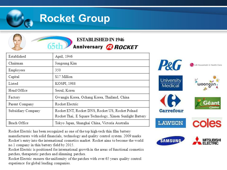 Rocket Group EstablishedApril, 1946 ChairmanJongsung Kim Employees350 Capital$17 Million ListedKOSPI, 1988 Head OfficeSeoul, Korea FactoryGwangju Korea, Ochang Korea, Thailand, China Parent CompanyRocket Electric Subsidiary CompanyRocket ENT, Rocket DNS, Rocket US, Rocket Polnad Rocket Thai, E Square Technology, Ximen Sunlight Battery Brach OfficeTokyo Japan, Shanghai China, Victoria Australia Rocket Electric has been recognized as one of the top high-tech thin film battery manufacturers with solid financials, technology and quality control system.