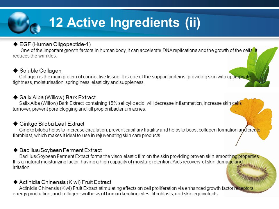 12 Active Ingredients (ii)  EGF (Human Oligopeptide-1) One of the important growth factors in human body, it can accelerate DNA replications and the growth of the cells.