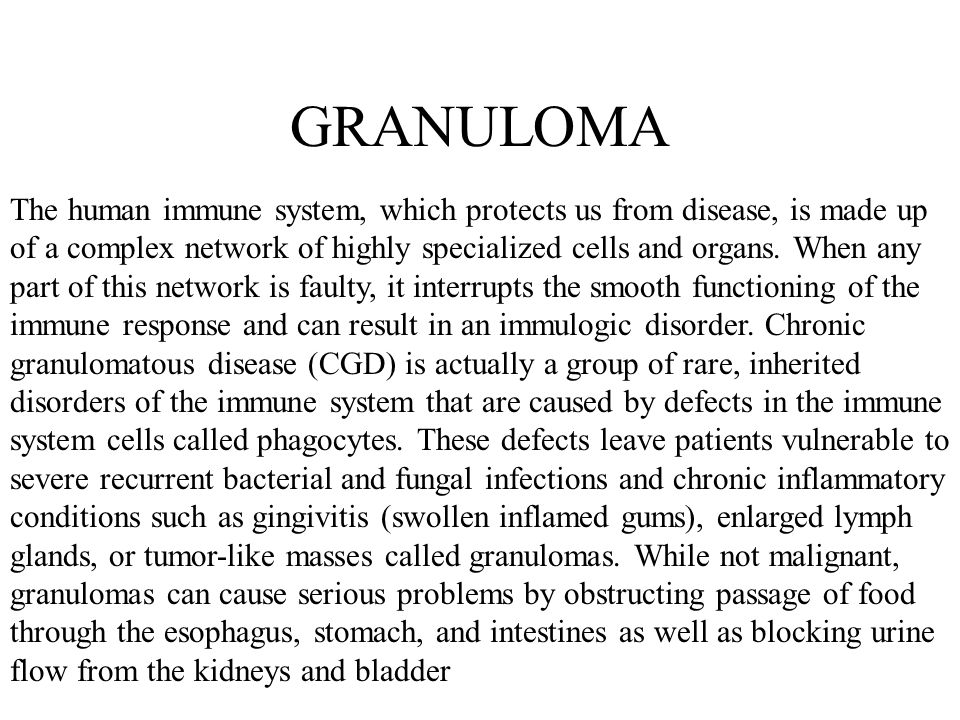 GRANULOMA The human immune system, which protects us from disease, is made up of a complex network of highly specialized cells and organs.