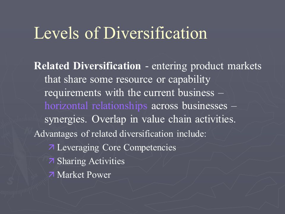 Related Diversification at Disney Entertainment/Production Theme Parks Resorts Entertainment/Broadcasting Cruise Lines Retailing