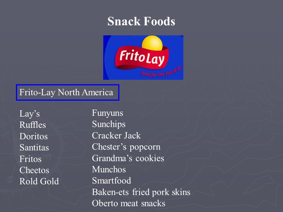 Snack Foods BeveragesFoods Frito-Lay North America Frito-Lay International Pepsi-Cola North America Gatorade/Tropicana North America PepsiCo Beverages