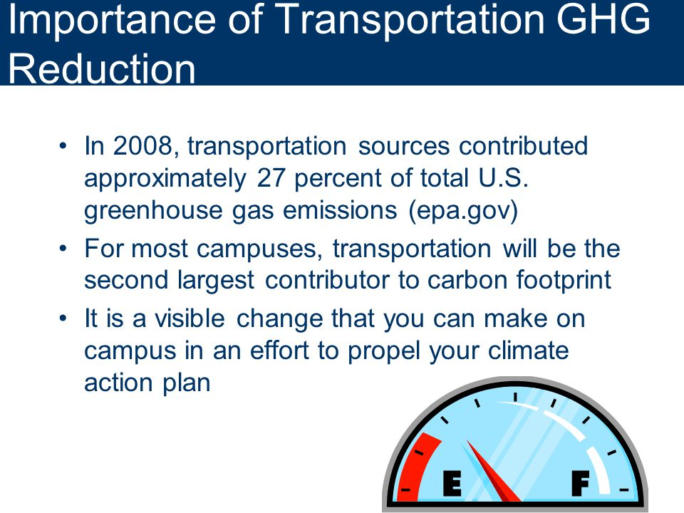 Importance of Transportation GHG Reduction In 2008, transportation sources contributed approximately 27 percent of total U.S.