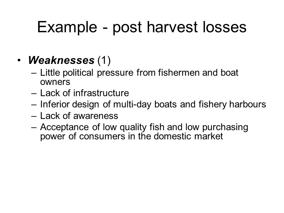 Weaknesses (1) –Little political pressure from fishermen and boat owners –Lack of infrastructure –Inferior design of multi-day boats and fishery harbo