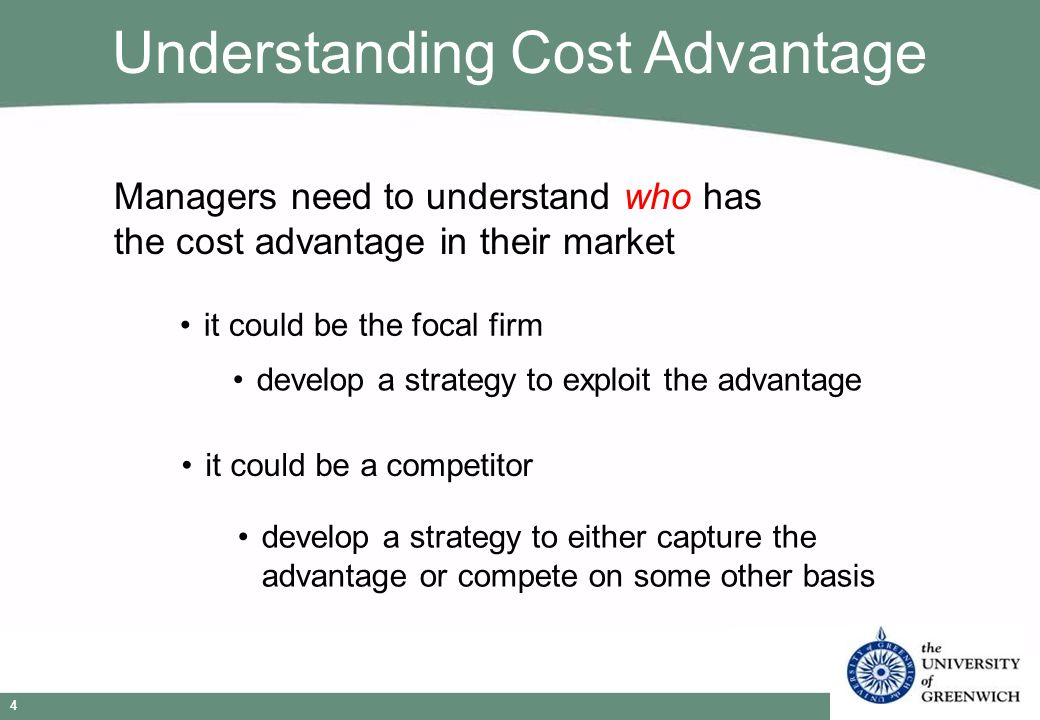Strategic Management © Niels Wergin 2009 5 Economies of Scale average cost per unit falls as quantity increases -until the minimum efficient scale is reached are a cost advantage because competitors may not be able to match the scale because of capital requirements (barrier to entry) international expansion may allow a firm to have enough sales to justify investing in additional capacity to capture economies of scale Sources of Cost Advantage Example: Computers, Cars, Clothes