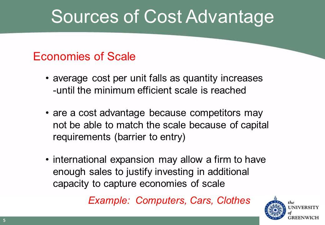 Strategic Management © Niels Wergin 2009 5 Economies of Scale average cost per unit falls as quantity increases -until the minimum efficient scale is