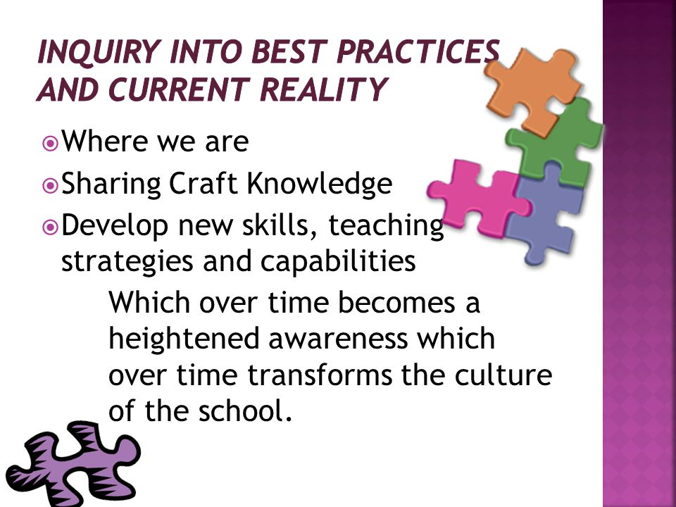  Where we are  Sharing Craft Knowledge  Develop new skills, teaching strategies and capabilities Which over time becomes a heightened awareness which over time transforms the culture of the school.