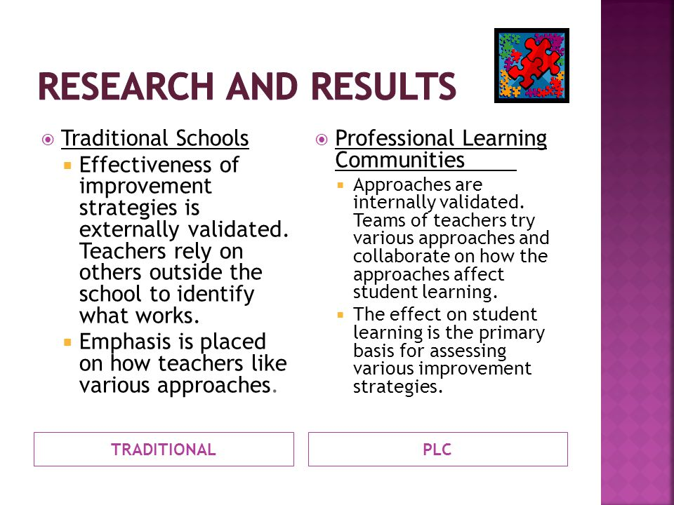 TRADITIONALPLC  Traditional Schools  Effectiveness of improvement strategies is externally validated.